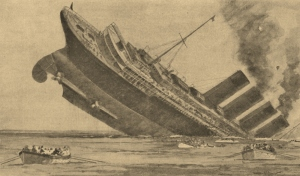 Sketch of the sinking Lusitania